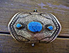 FREE SHIPPING Vintage Kuchi Tribal Turquoise Stone by ZamarutJewel