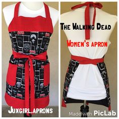 Walking dead women's  apron $35. This apron is lined in back with a solid black fabric and can be tied in the back or front. Can be used a reversible but only has pockets in the front. OSZ fits most  Juxgirl.aprons@gmail.com