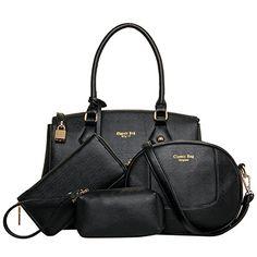 Coofit Damen Handtasche Messenger Crossbody-Bag Frauen Leder Tote Tasche Set