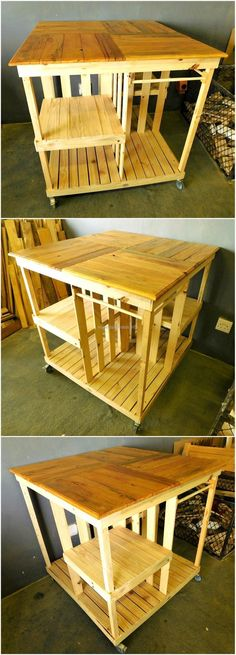 reused pallet wooden kitchen island