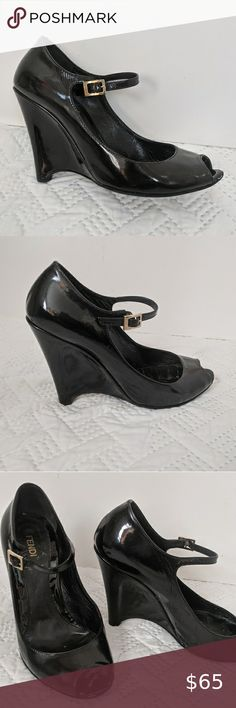Womens Low Wedges Faux Leather Patent Padded Sole Mary Jane Strap Shoes