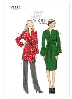 V8825 | Misses' Bishop Sleeve Tunic, Dress and Pants Sewing Pattern | Vogue Patterns