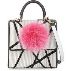 Les Petits Joueurs Alex Mini Bunny Shoulder Bag ($1,315) ❤ liked on Polyvore featuring bags, handbags, shoulder bags, purses, fox fur purse, fox fur handbag, zipper flap purse, mini handbags and flap purse