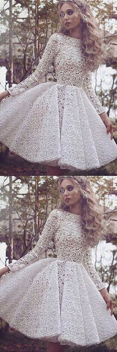 White A Line Jewel Neck Long Sleeve Homecoming Dress,Lace Appliques Short/Mini Prom Dress H249 Short Prom Dresses, Homecoming Dresses, Prom Gowns, Party Dresses, Graduation Dresses, Short Prom Dresses, Gowns Prom, Cheap Prom Gowns on Line