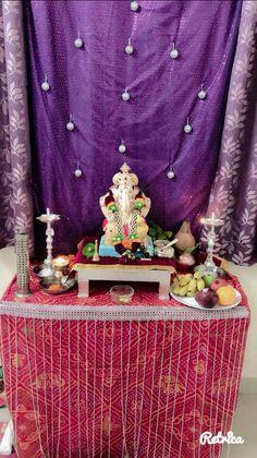Festival Decorations, Light Decorations, Janmashtami Decoration, Ganpati Decoration At Home, Ganapati Decoration, Ganesha, Diwali, Festivals, Worship
