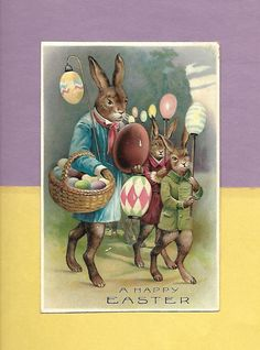 WALKING DRESSED BUNNIES DELIVER EGGS On Fabulous Vintage Unused EASTER Postcard