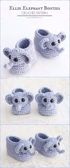 Crochet Elephant Baby BootieFree Pattern - Crochet Elephant Free Pattern