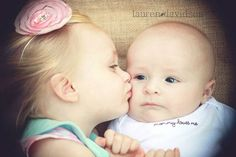 Toddler and infant sibling photo idea. Sister and brother photo. 3 month old baby with sibling photo idea. Photos with burlap.