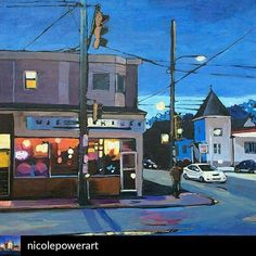 "From @nicolepowerart - ""Sushi Night"" 20x20 2014. #halifax #art #fineart #urbanart #contemporaryart #painting #acrylicpainting #streetscene…"
