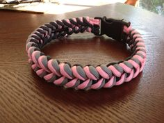 Paracord Dog Collar-Pink/Gray/Black by ParaDogCollar on Etsy
