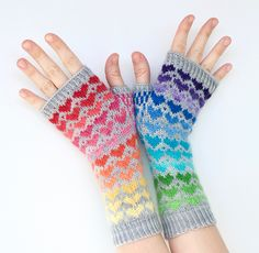 My Rainbow Heart by Stephanie Lotven - This pattern will be FREE February No code needed ! Fingerless Mittens, Knit Mittens, Knitting Socks, Knitted Gloves, Knit Socks, Pdf Patterns, Heart Patterns, Knitting Patterns Free, Knitted Heart Pattern