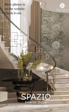 Luxury House Interior Design Tips And Inspiration Staircase Railing Design, Interior Staircase, Home Stairs Design, Modern Staircase, Modern House Design, Interior Design Dubai, Interior Design Website, Interior Design Companies, Luxury Homes Interior