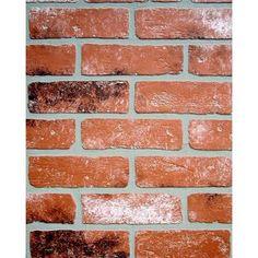 Must try this somewhere in the house. Home Depot in. x 48 in. x 96 in. Kingston Brick Wall - The Home Depot Cheap Backsplash Tile, Install Backsplash, Copper Backsplash, Herringbone Backsplash, Penny Backsplash, Hexagon Backsplash, Beadboard Backsplash, Backsplash Ideas, Kitchen Backsplash