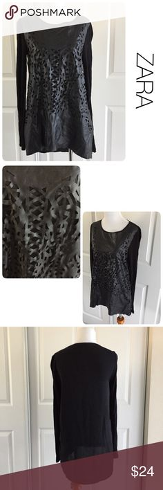 Zara mixed material lasercut black top size small ♦️Excellent  condition.  No holes, stains or piling. Oversized fit.                                               ♦️Materials- sleeves and back are 100 rayon/lasercut area is 100 polyester              ♦️Measurements:                                   ♦️Laying flat armpit to armpit: approximately 15.5 inches                                                ♦️Laying flat from the back of the neck to the bottom of the front hem is approximately…