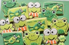 Happy Leap Year Frog Cookies With Keroppi Frog Cookies with royal icing. Frog Cookies, Iced Cookies, Cute Cookies, Sugar Cookies, New Years Cookies, Cookies For Kids, Frog Food, Galletas Cookies, Cookie Time