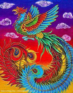'Fenghuang Chinese Phoenix Rainbow Bird' Art Print by Rebecca Wang Phoenix Drawing, Phoenix Art, Phoenix Bird Tattoos, Phoenix Tattoo Design, Bird Silhouette Art, Phoenix Wallpaper, Black Bird Tattoo, Eagle Art, Colorful Animals