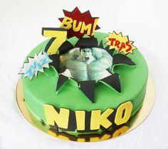 "Fondant covered vanilla cake ""Hulk"" by me Marvel Cake, Cake Art, Hulk, Vanilla Cake, Art For Kids, Fondant, Birthday Cake, Facebook, Desserts"