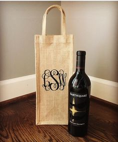 Personalized / Monogrammed Burlap Wine Tote Bag. This is by far our most popular gift bag! Perfect for hostess, newlywed, wedding or any other occasion. See more on our Facebook page - The Scoutten House
