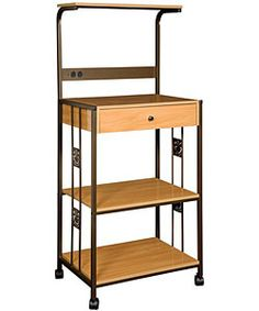 Copper Bronze and Wood Kitchen Microwave Cart with 2 Electrical Outlets ~ Overstock.com Mobile