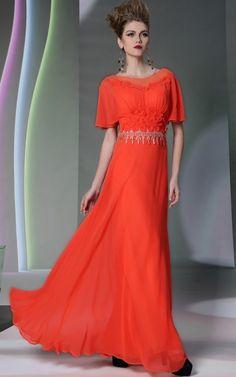 陽気なビタミンカラー! オレンジの袖つきロングドレス♪ - ロングドレス・パーティードレスはGN|演奏会や結婚式に大活躍!