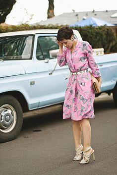 Vintage pink dress from karlascloset.blogspot.com