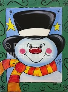 Snowy Man - SOLD OUT! - North Little Rock Painting Class - Painting with a Twist - Painting with a Twist