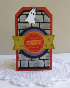 Trick or Sweet; Layered Treat Tags Die-namics; Traditional Tags STAX Die-namics; Pierced Circle STAX Die-namics; Halloween Charms; Brick Wall Stencil - Melody Rupple