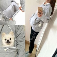 Dog Lover Hoodie With Ears And Special Dog Pouch