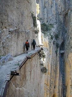 Too precarious for my taste. I want adventure not fright.   El Caminito del Rey(El Caminito del Rey) is a granite canyon on the old road along the river near Guadaruoruse Alora Málaga, Spain.