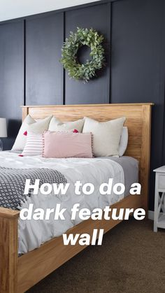 Really cool dark accent wall idea in this master bedroom. Modern Farmhouse/ Boho Bedroom Reveal + Farmhouse Bed Building Plans - The Creative Mom Feature Wall Bedroom, Accent Wall Bedroom, Black Bedroom Walls, Home Decor Bedroom, Bedroom Modern, Bedroom Ideas, Diy Bedroom, Bedroom Wall Designs, Neutral Bedrooms