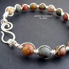 WIRE WRAPPED PICASO JASPER BANGLE BRACELET | JewelryExpressionsbyAnita - Jewelry on ArtFire