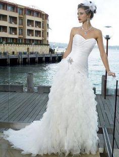 A-line Sweetheart Beading Sleeveless Chapel Train Wedding Dress for Brides