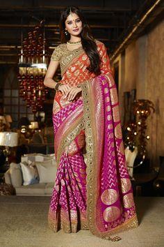 Pink Viscose Wedding Saree