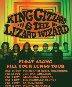 """King Gizzard and the Lizard Wizard is the tripped-out, amped-up concoctionof seven (yes, seven) long-haired humans who describe themselves as """"completely fried theremin wielding psychopaths"""". Half of the members have migrated from the salt plains of Deniliquin, the other half from the Anglesea coast; now, they're based in Melbourne. Notably prolific, they're about to release …"""