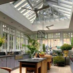 Dream kitchen/greenhouse space- Best site for Home Design, Pictures, Remodel, Decor and Ideas Greenhouse Kitchen, Conservatory Kitchen, Conservatory Design, Greenhouse Ideas, Sunroom Kitchen, Greenhouse Wedding, Window Greenhouse, Outdoor Greenhouse, Kitchen Windows