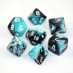 Set of 7 Chessex Gemini Black-Shell w/white RPG Dice