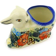Ceramika Bona H0760F Polish Pottery Ceramic Bunny Shaped Jar Hand Painted 5Inch >>> You can find more details by visiting the image link.
