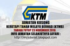 Jawatan Kosong Terkini di KTMB - 23 November 2016  Jawatan kosong terkini di Keretapi Tanah Melayu Berhad (KTMB) November 2016. Permohonan adalah dipelawa daripada warganegara Malaysia yang berkelayakan untuk mengisi kekosongan jawatan kosong terkini di Keretapi Tanah Melayu Berhad (KTMB) sebagai :1. SALES MANAGERTarikh tutup permohonan 23 November 2016 Lokasi : Kuala Lumpur Sektor : Kerajaan  Interested applicants are invited to write-in together with detailed resume contact number and a…