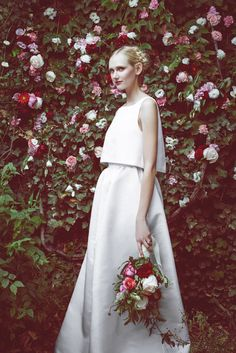 The Astrid.... Silk faille cropped top and maxi skirt. Available at stonefoxbride.com..