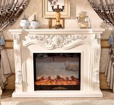 fireplace set wooden mantel with electric fireplace insert firebox burner artificial LED optical flame decoration chimney . Shabby Chic Fireplace, Marble Fireplace Mantel, Wooden Mantel, Fireplace Set, Marble Fireplaces, Fireplace Inserts, Fireplace Surrounds, Fireplace Design, Big Lots Fireplace
