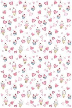 BellaRina - Cupcakes, Ice Cream & Hearts Pattern Art Print by Planet Perfect - X-Small Kawaii Wallpaper, Pastel Wallpaper, Cute Wallpaper Backgrounds, Wallpaper Iphone Cute, Pretty Wallpapers, Aesthetic Iphone Wallpaper, Flower Wallpaper, Cartoon Wallpaper, Cupcakes Wallpaper