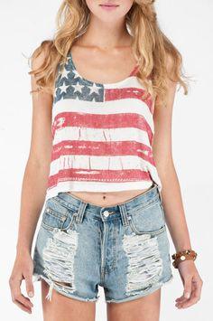 Brandy Melville American Flag Crop Top ~ TOBI