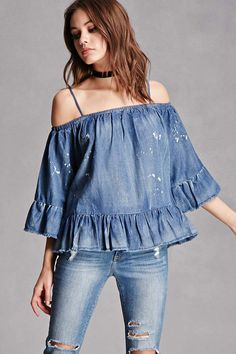 Chambray Bleach Splatter Top
