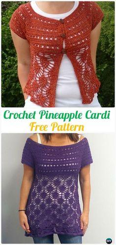 CrochetPineapple Cardigan Pattern - Crochet Women Sweater Coat-Cardigan Free Patterns