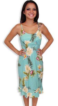 Mid-Length Spaghetti Rayon Hawaiian Dress - Island Ceres