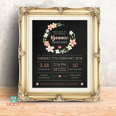 Baby announcement, New Baby Sign, Birth announcement, Nursery Decor, New baby gift, Birth Stats, New baby gift, Birth Stats wall art by HOOTinvitations on Etsy
