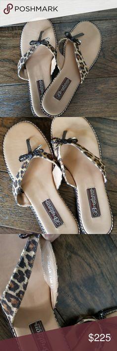 "Brighton Leopard Ofelia sandals w bow Brighton Leopard ""Ofelia"" sandals w bow. Size 7.5 M These are in Pristine condition. BNWOT. Brighton Shoes Sandals"