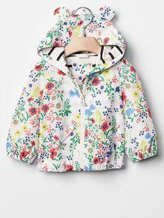 Floral bear zip hoodie