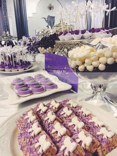 Purple themed candy table | Cakes and More by Nora Purple Candy, Candy Table, Cakes And More, Table Decorations, Home Decor, Wedding, Valentines Day Weddings, Candy Stations, Decoration Home