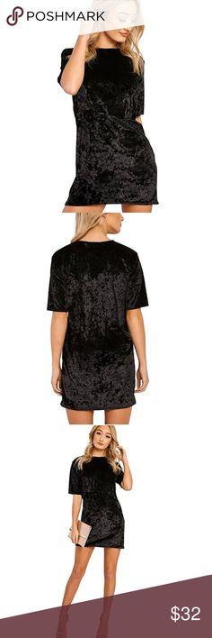 """Velvet Mini T- Shirt Dresses Tag Size S--Bust 35.43""""--Sleeve 7.87""""--Length 33.07""""--Waist 29.13""""  Tag Size M--Bust 37.00""""--Sleeve 8.26""""--Length 33.46""""--Waist 30.70""""  Tag Size L--Bust 38.58""""--Sleeve 8.66""""--Length 33.85""""--Waist 32.28""""  Tag Size XL--Bust 40.15""""--Sleeve 9.05""""-- Length 34.25""""--Waist 33.85"""" Dresses Mini"""